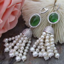 H032514 4-5MM 7-8MM White Pearl Green Crystal Earrings CZ Fitting