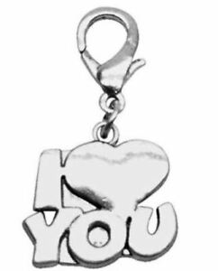Mirage Pet Products Chrome Lobster Claw Charm for Pets, I Love You