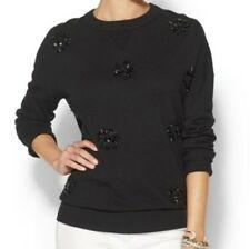 Kate Spade NWT Embel Slouchy Sweater Black Las Vagas Crewneck Pullover XS $278
