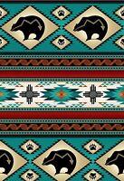 Fabric Native Bear Tucson Stripe Turquoise Cotton Elizabeth 1/4 yard