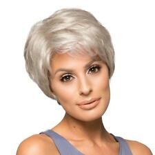 Silver Gray Hair Wig Real Human Hair Full Wig Fluffy Lady Party Daily Wear