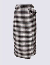 M&S BURGUNDY MIX CHECKED PENCIL WITH WOOL SKIRT Sz 6 Long BNWT £45 Work Career