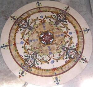 """60"""" Marble Dining Table Top Antique Work Hallway Table Inlay Art for Home Decor"""