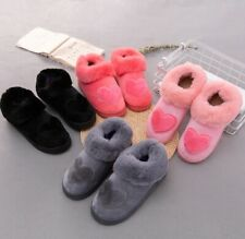 Heart Shaped Cotton Women Slipper Warm Plush Winter Fur Shoes Flat Home Basic