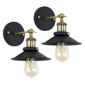 2x Industrial Wall Light Fittings Tapered Shades Black & Antique Brass Lights
