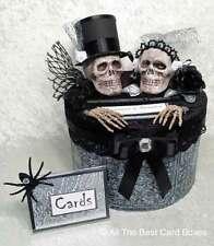 Gothic Skull Wedding Card Box,Halloween,Black,Red,Handmade,Cake,Fabric,Card Box