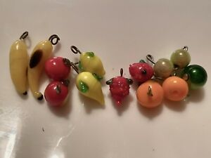 Lot Of 13 Vintage Mini Glass Wired Fruits