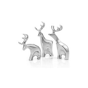 Nambe Miniature Blitzen Reindeer Christmas Set, 3 Pieces, Alloy Metal - Silver