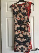 River Island Burnt Orange Floral Wrap Dress. Summer Wedding Size 10 VGC