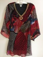Ladies Printed Embellished Polyester Missy Size Tunic Top Blouse S-M-L NWT.