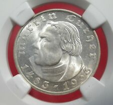 NGC MS-64 NAZI LUTHER 1933-F 2 ReichsMark SILVER COIN-Germany 3rd-REICH MINT!!
