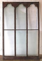 1800's Wooden GOTHIC Top Church WINDOW Frame & Chip Glass Arch Top Large ORNATE