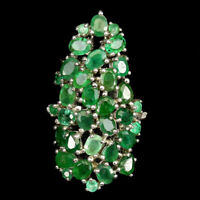Ring Green Emerald Genuine Natural Gems Solid Sterling Silver Size N 1/2  US 7
