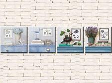 MODERN BEACHHOUSE SET OF 4 PRINTS ON CANVAS 50 x 50 FRAMED WALL ART