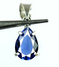925 Sterling Silver Natural Pear Blue Tanzanite Pendant 7.10 Ct Certified L9721