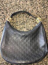 GUCCI 232962 Guccissima Black Leather GG Twins Medium Hobo Handbag $1000
