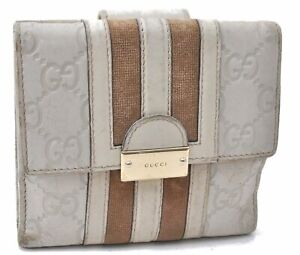 Authentic GUCCI Guccissima Leather Corduroy Bifold Wallet White C6611