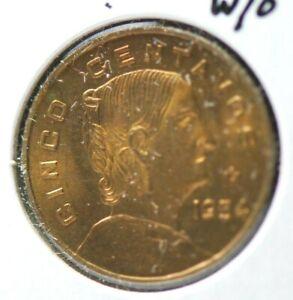 Mexico, 1954 5 Centavos (Without Dot) 5 Cerntavos, (KEY) UNC                7-28