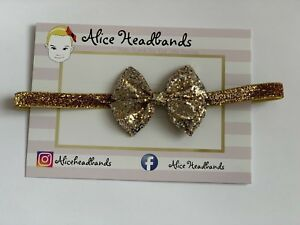Gold Silver Red Glitter Fabric Bow Headband Baby Girl Headbands Newborn  + Lot