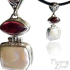 925 SOLID Sterling Silver Garnet Biwa Pearl Pendant Necklace Balinese Valentine