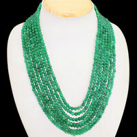 TOP CLASS 557.00 CTS NATURAL GREEN EMERALD 7 LINE ROUND BEADS NECKLACE (DG)