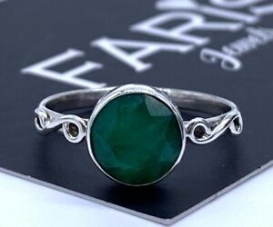 Emerald 925 Sterling Silver Ladies Round Ring Green Gemstone Jewellery Gift