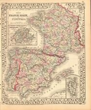 1874 ANTIQUE MAP - FRANCE, SPAIN AND PORTUGAL