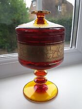 Vintage Barth Mann footed & lidded amberina covered compote with gilt decoration