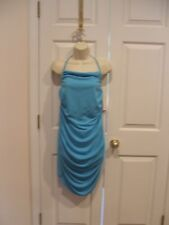 NWT PEEP STUDIO  aqua ruched halter  party DRESS  made in USA size large 9-11