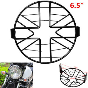 1X 6.5'' Motorcycle Headlight Mesh Grill Mask Protector Guard Cover Black Metal