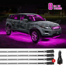 8pc Expandable Multi Pattern Underbody Car Glow Neon Light Kit NEON PINK LEDs