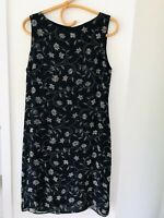 JACQUI E Black Floral Size 12 Sleeveless Fully Lined Zip French Fabric Dress