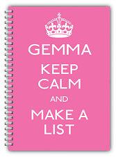 A5 Notebook personalizzata / 50 FODERATO pagine / Keep Calm and stilare un elenco / Rosa