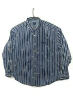 Vintage Tommy Jeans Blue White Long Sleeve All Over Logo Button Shirt Mens XXL