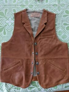 Coronado Leather Vest Sz 40T - Conceal Carry Brown Buffalo Nickel button