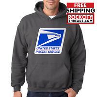 USPS LOGO POSTAL CHARCOAL HOODIE Hooded Sweatshirt Chest United States Service