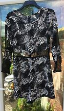 BNWT H&M BLACK & WHITE PLAYSUIT SHORT JUMPSUIT LACE PANELS SIZE 14