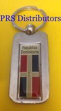 DOMINICAN REPUBLIC CHROME METAL KEYCHAIN DOMINICAN REPUBLIC FLAG KEYCHAIN