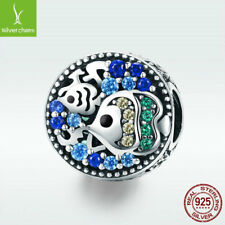 925 Sterling Silver Charm Bead Ocean Fish With Bright CZ For Cute Girl Bracelet