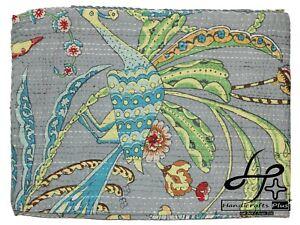 Grey Kantha Quilt Bedding Bird Print Gudari Handmade Hippie King Size Bedspread