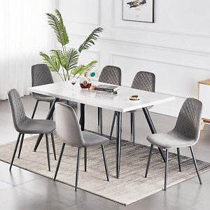 White/Grey/Oak Wooden Dining Table 4-6 Seat Kitchen Tables Living Room Furniture