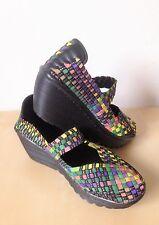 Ladies Multicoloured Woven Wedge Summer Shoes Sandals Size EU36 UK3