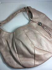 Furla Large Pebbled leather hobo handbag in ivory / blush / beige W/tassel charm