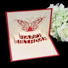 Handmade 3D Pop Up Card Butterfly Happy Birthday Greeting Cards Invitations Gift