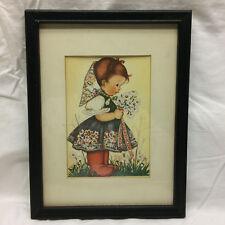 Vintage Framed Dutch Girl Holding Flowers Art work Illustration