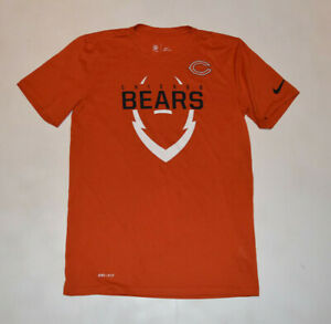 Nike Dri Fit Chicago Bears Men Small Orange T-Shirt NFL-Sideline Official B15