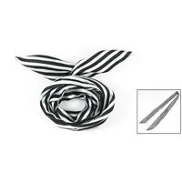 Women Striped Print Fabric Coated Wire Hair Wrap Scarf Head Band White Black SH
