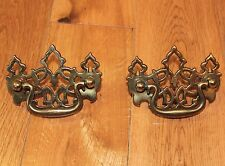 Vintage brass drawer pulls set of 2 ornate scroll 3.25 inch wide bail pull