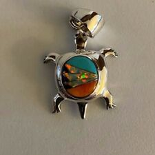 Sterling Silver / Multistone - Opal Inlay Turtle Pendant 2