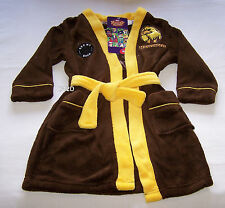 Hawthorn Hawks AFL Boys Brown Yellow Fleece Dressing Gown Size 5 New
